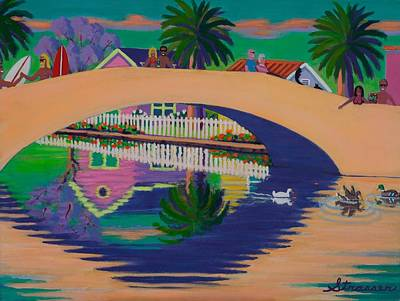 Jacaranda Tree Painting - Sunday On Retro Canal by Frank Strasser
