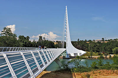 White River Scene Photograph - Sundial Bridge - Sit And Watch How Time Passes By by Christine Till