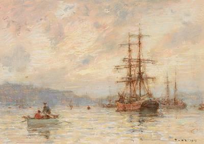 Ships Mast Painting - Sundown by Henry Scott Tuke