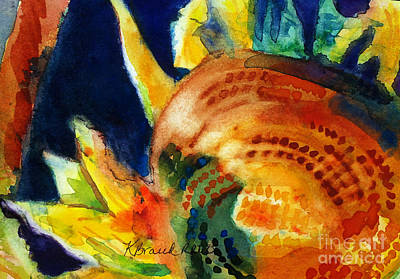 Nature Abstracts Painting - Sunflower Head 3 by Kathy Braud