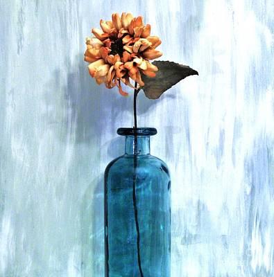 Sunflower In A Beach Bottle Print by Marsha Heiken