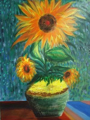 Painting - Sunflower In A Vase by Prasenjit Dhar