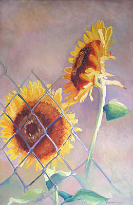 Oil Painting - Sunflowers Fenced by Suzanne Giuriati-Cerny