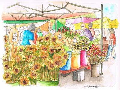 Beverly Hills Painting - Sunflowers In A Farmer Market In Beverly Hills - California by Carlos G Groppa