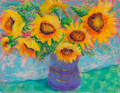 Photograph - Sunflowers In Blue Pot by Pat Olson