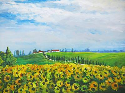Sunflowers In Chianti Print by Heidi Patricio-Nadon