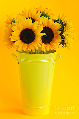 Sunflowers In Vase Print by Elena Elisseeva