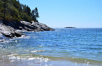 Sunlight Reflections Along Sand Beach Acadia Park Maine Print by Martin Rogers
