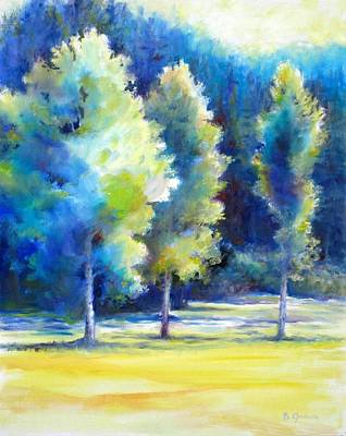 Impressionistic Landscape Painting - Sunlit Trees by Bonnie Goedecke