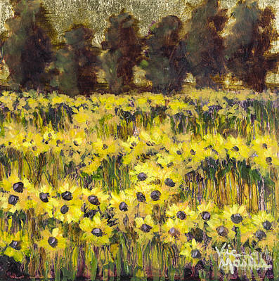 Kansas Artist Painting - Sunny Field Series On Gold Leaf By Vic Mastis by Vic  Mastis