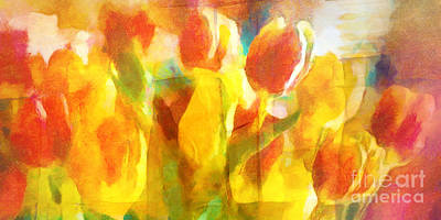 Tulips Mixed Media - Sunny Tulips by Lutz Baar