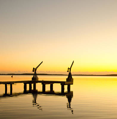 Sunrise At The Boat Dock Print by Chris Thaxter