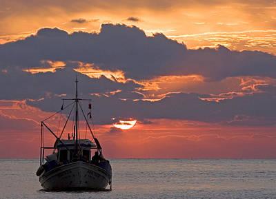 Sunrise In Crete Print by Max Waugh