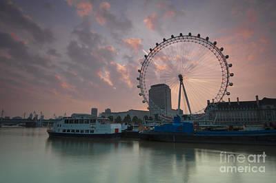 London Eye Digital Art - Sunrise London Eye by Donald Davis
