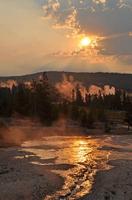 Sunrise Near Yellowstone's Punch Bowl Spring Print by Bruce Gourley
