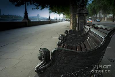 London Eye Digital Art - Sunrise On A London Bench by Donald Davis