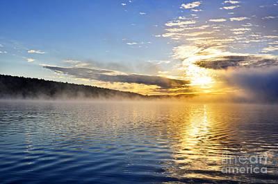 Sunrise On Foggy Lake Print by Elena Elisseeva