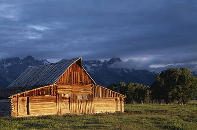 Sunrise On Old Wooden Barn On Farm Print by Axiom Photographic