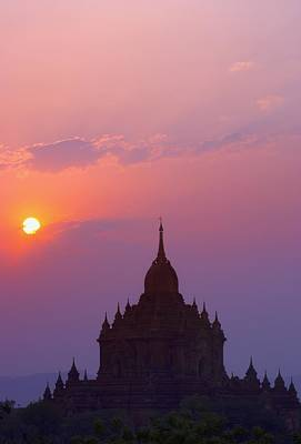 Sunrise Over Stupa Temple In Bagan Print by Carson Ganci