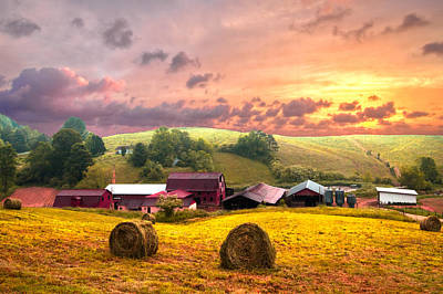 Sunrise Pastures Print by Debra and Dave Vanderlaan