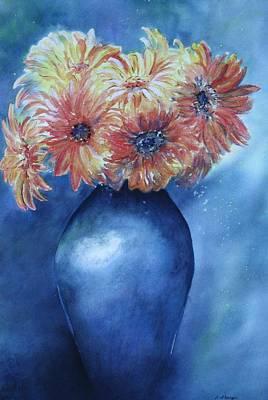 Sunburst Floral Still Life Painting - Sunrise by Patsy Sharpe