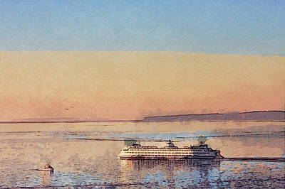 Sunset And Ferry Original by Arthur Kuntz