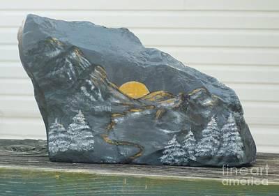 Sunset And Mountains Print by Monika Shepherdson