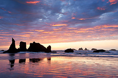 Sunset At Bandon Beach Print by Alvin Kroon