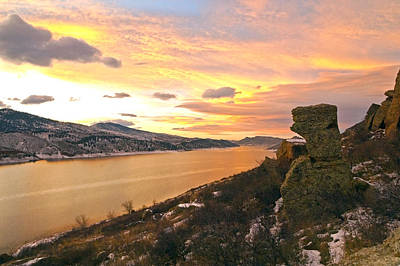 Sunset At Horsetooth Dam Co. Print by James Steele