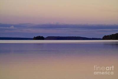 Sunset At Lake Muojaervi Print by Heiko Koehrer-Wagner