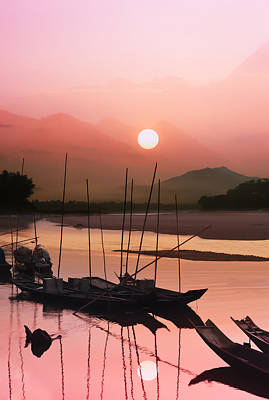 sunset at Mae Khong river Print by Setsiri Silapasuwanchai