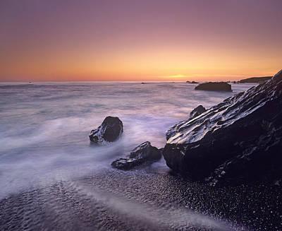 Of Big Sur Beach Photograph - Sunset At San Simeon State Park Big Sur by Tim Fitzharris