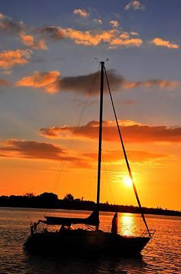 Digital Art - Sunset At Sea by Barry R Jones Jr