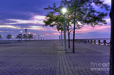 Sunset At The Plaza Print by David Bearden