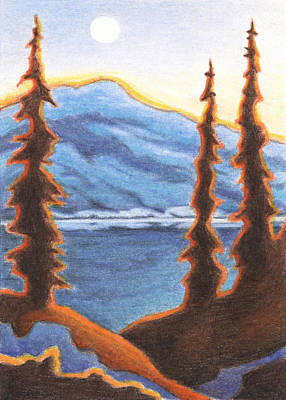 Artist Trading Cards Drawing - Sunset Fire by Amy S Turner