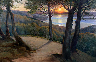 Great Outdoors Painting - Sunset by Hans Agersnap