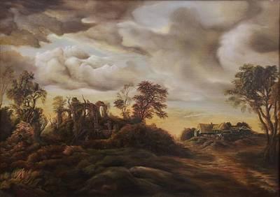 Tablou Painting - Sunset Landscape by Dan Scurtu