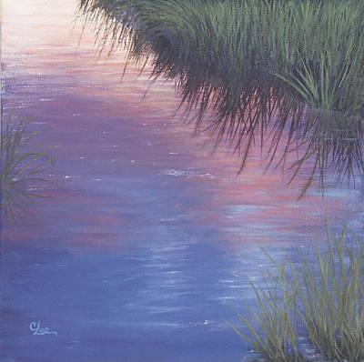 Sunset Marsh Print by Cindy Lee Longhini