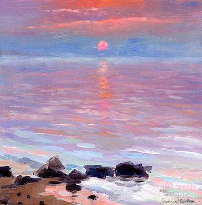 Coastal Drawing - Sunset Ocean Seascape Oil Painting by Svetlana Novikova