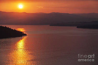 Sunset On Flathead Lake With Wild Horse Island Print by Scotts Scapes