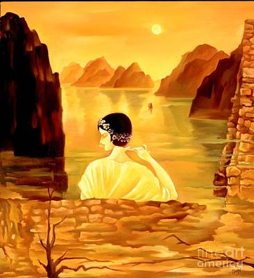 Woman Painting - Sunset On Li River by Sherry Chen