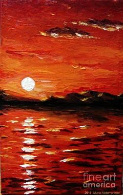 Sunset On The Sea Print by Muna Abdurrahman