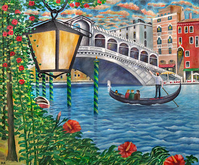Canals Painting - Sunset Over The Grand Canal by Ronald Haber