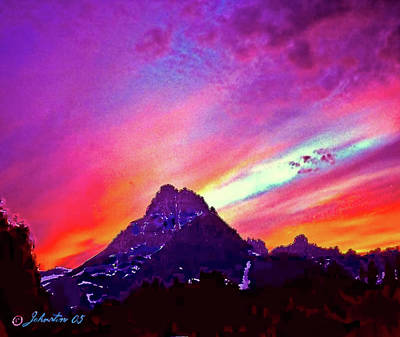Yosemite National Park Mixed Media - Sunset Over The Sierras by Bob and Nadine Johnston