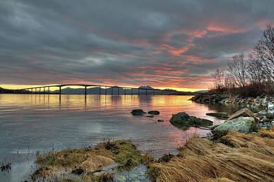 Norway Photograph - Sunset Reflecting Water,clouds, Sandnessund Bridge by Bernt Olsen