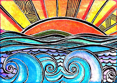 Waves Painting - Sunset by Robin Mead