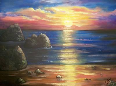 Beach Painting - Sunset Seascape by Joni McPherson