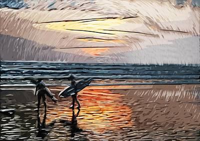 Sunset Surfers Print by Tilly Williams