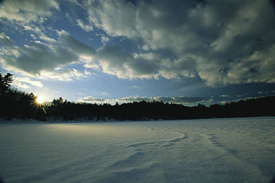Walden Pond Photograph - Sunset Viewed From The Frozen Surface by Tim Laman