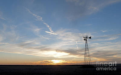 Sunset Photograph - Sunset With Windmill by Art Whitton